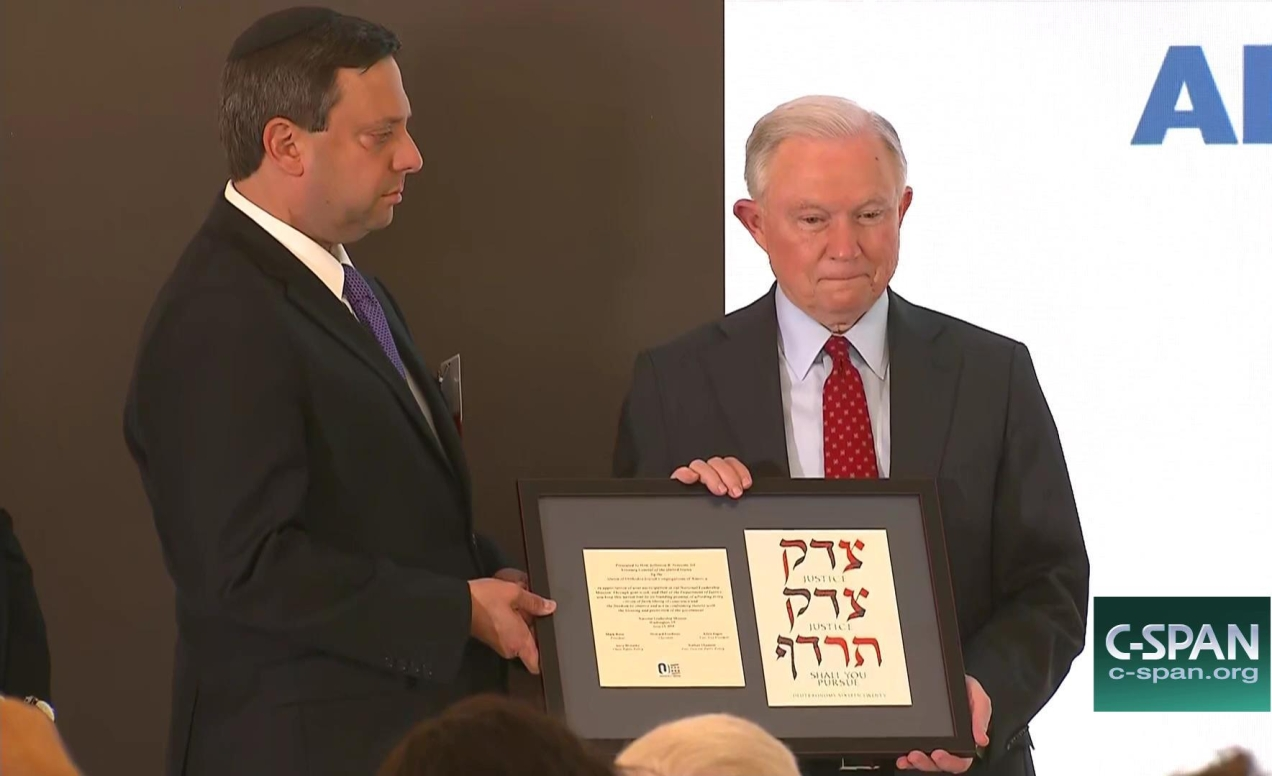 Jeff Sessions receives award from Orthodox Union